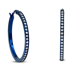 ER312BL B.Tiff Pave 42-Stone Classic Blue Sapphire Stainless Steel Medium Hoop Earrings