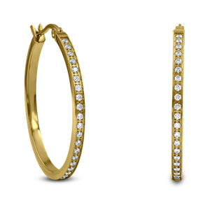 ER312G B.Tiff Pave 42-Stone Classic Gold Plated Stainless Steel Medium Hoop Earrings