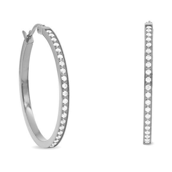 ER312W B.Tiff Pave 42-Stone Classic Stainless Steel Medium Hoop Earrings