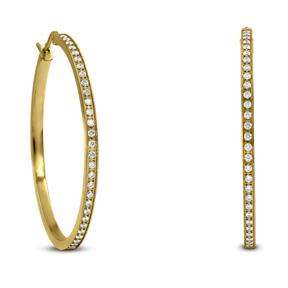 ER317G B.Tiff Pave 58-Stone Classic Gold Plated Stainless Steel Large Hoop Earrings