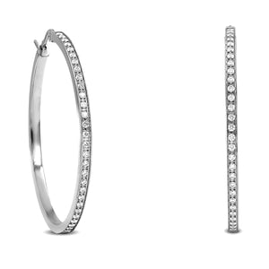 ER317W B.Tiff Pave 58-Stone Classic Stainless Steel Large Hoop Earrings