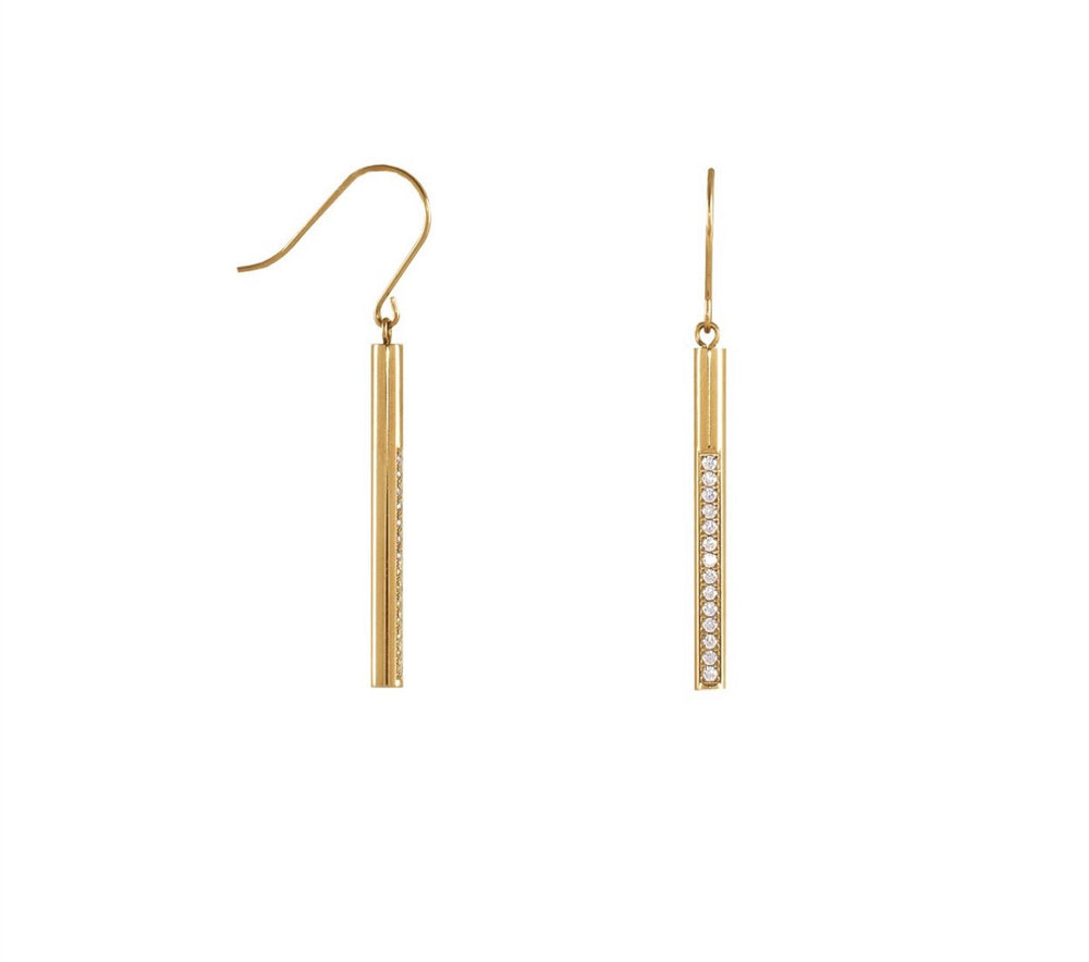 ER318G B.Tiff Pave 14-Stone Dangling Gold Plated Stainless Steel Bar Earrings
