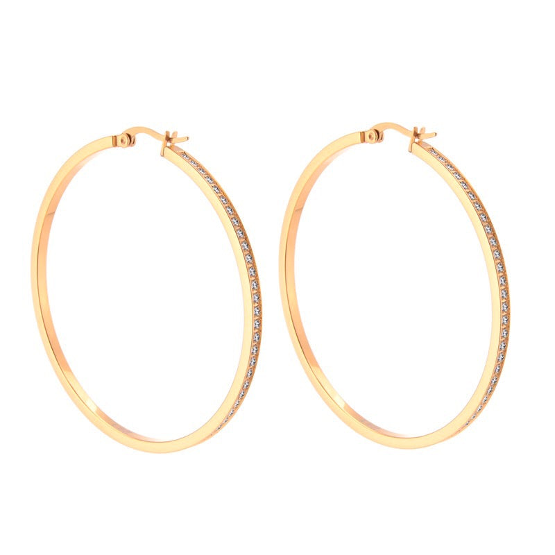 ER322RG B.Tiff Pave 146-Stone Big Rose Gold Plated Stainless Steel Hoop Earrings