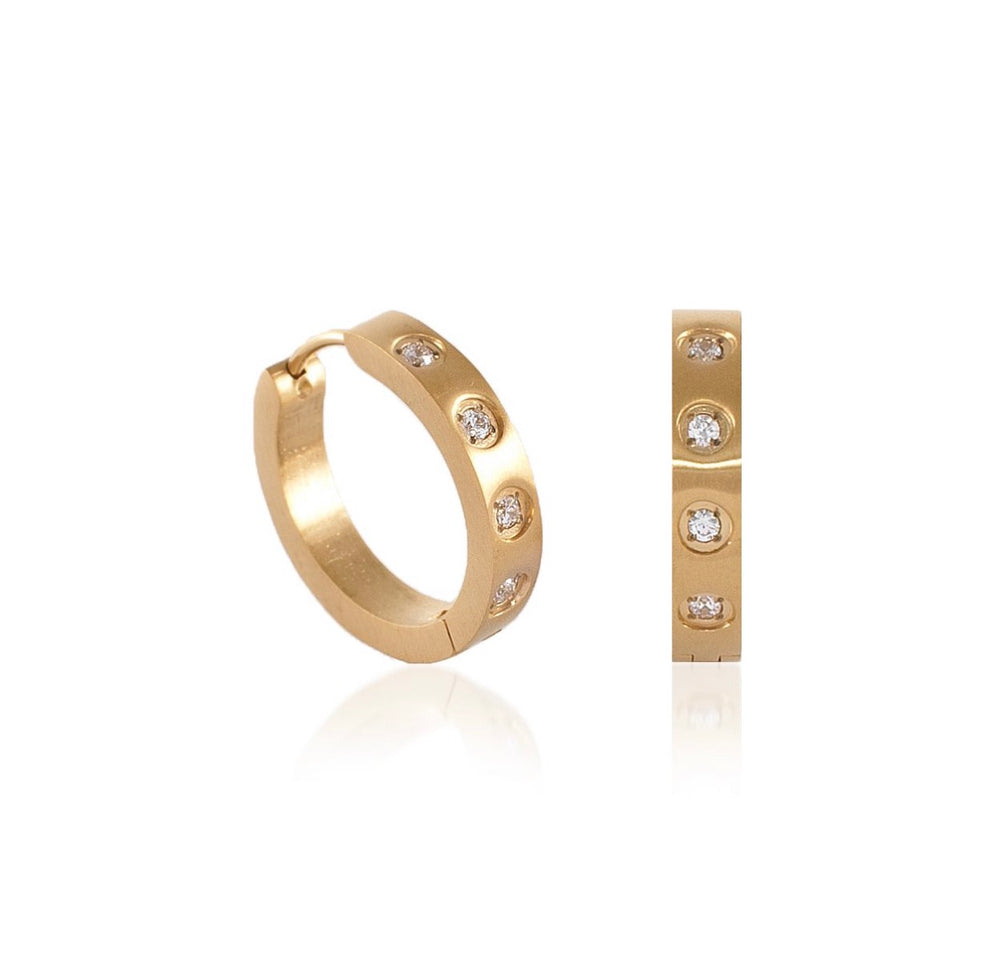 ER408G B.Tiff Pave 8-Stone Gold Plated Stainless Steel Hoop Earrings