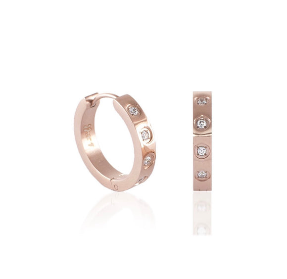 ER408RG B.Tiff Pave 8-Stone Rose Gold Plated Stainless Steel Hoop Earrings