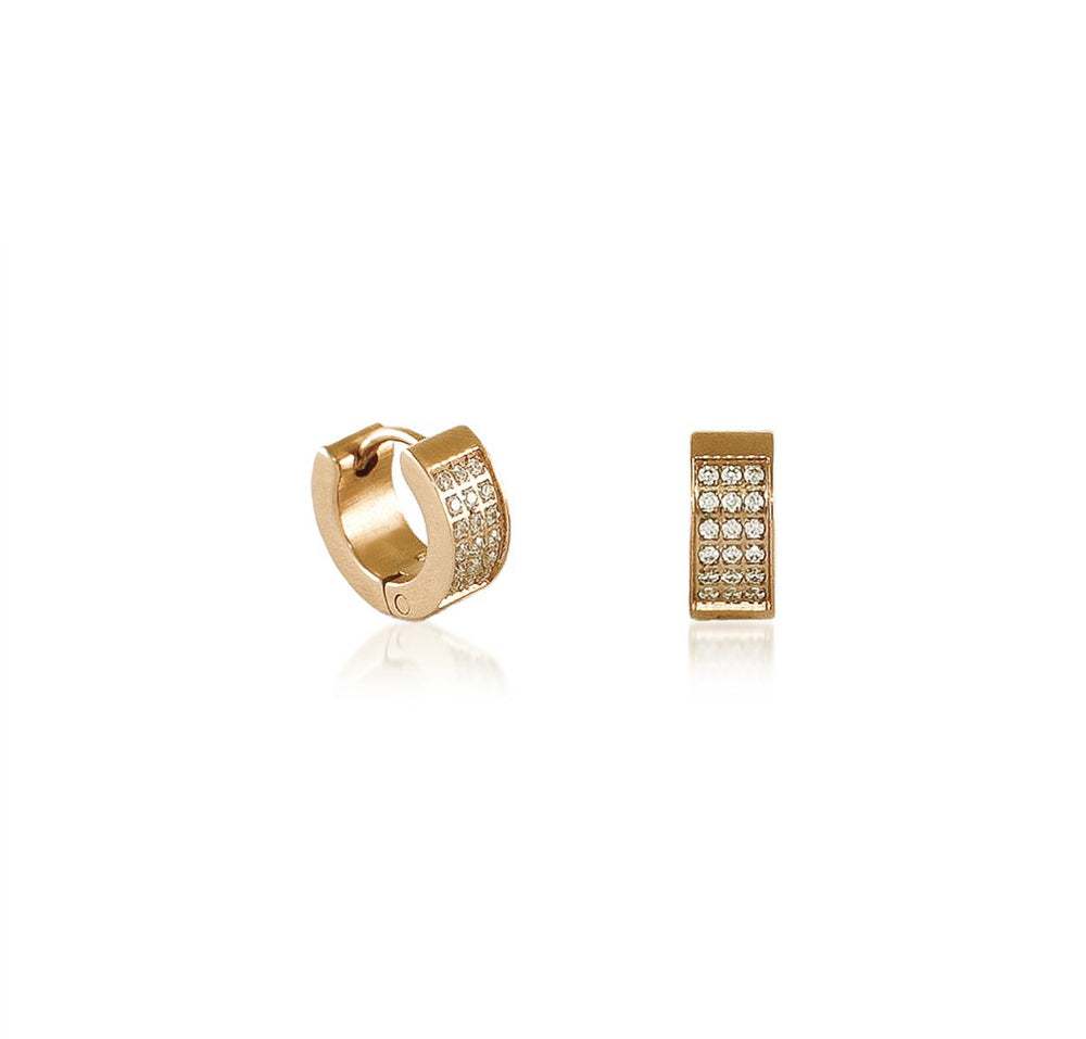 ER418G B.Tiff Pave Gold Plated Stainless Steel Huggie Earrings