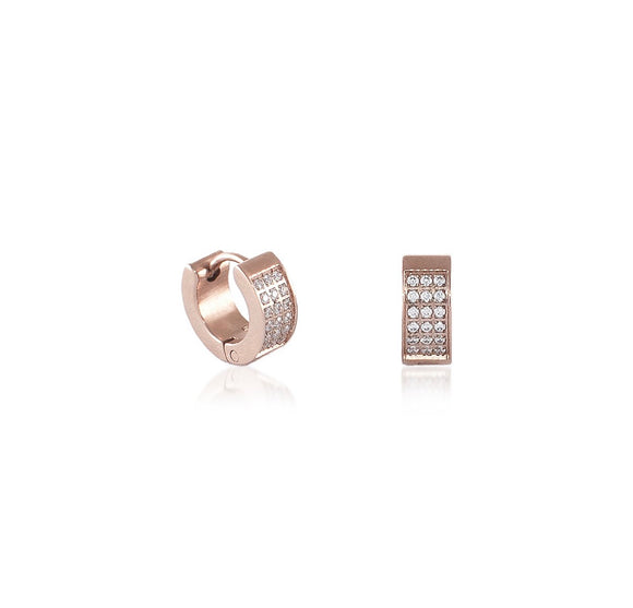 ER418RG B.Tiff Pave Rose Gold Plated Stainless Steel Huggie Earrings
