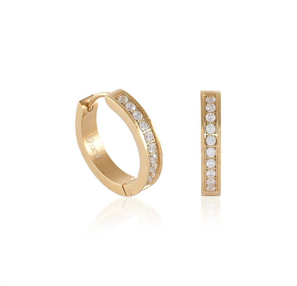 ER433G B.Tiff Pave 20-Stone Gold Plated Stainless Steel Hoop Earrings