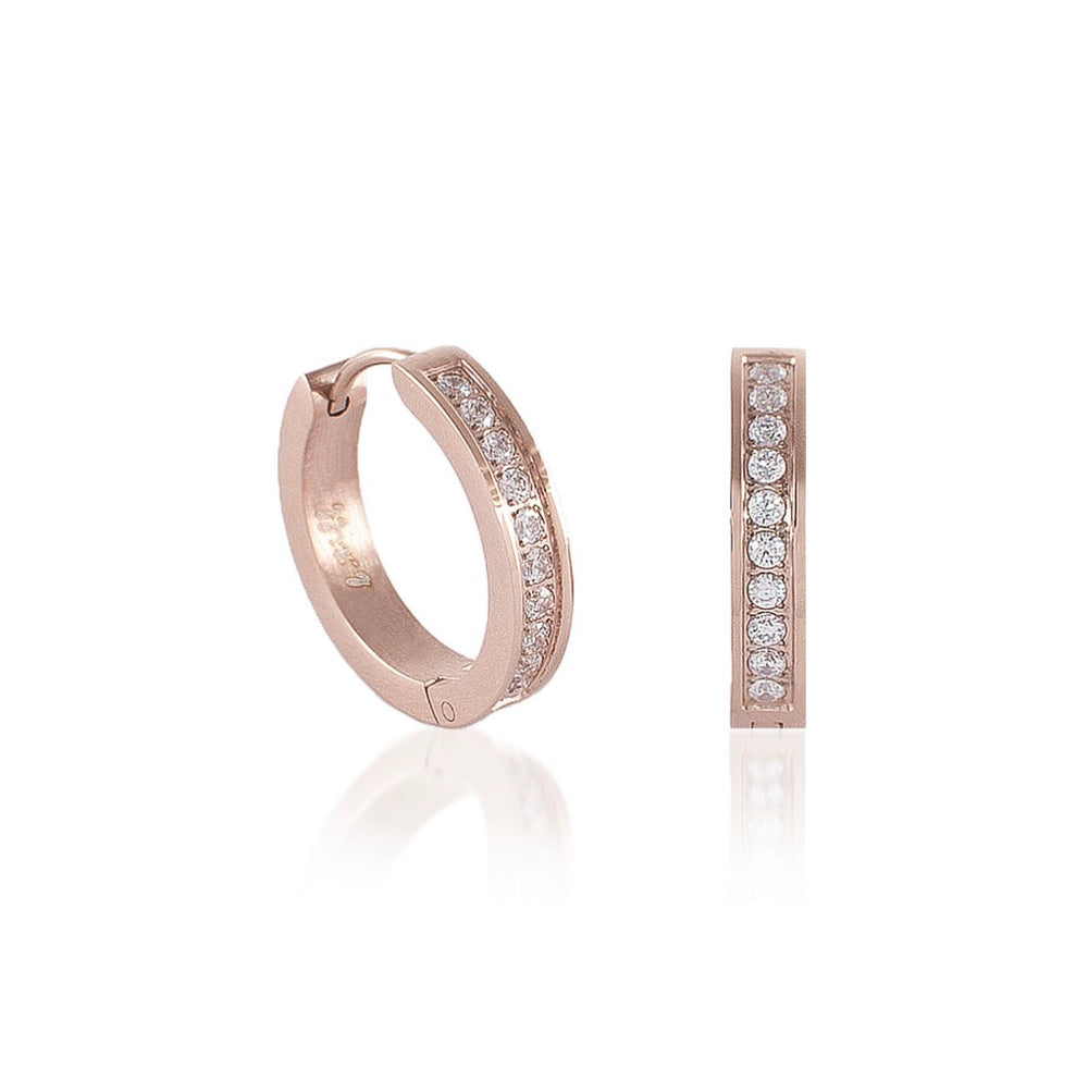 ER433RG B.Tiff Pave 20-Stone Rose Gold Plated Stainless Steel Hoop Earrings
