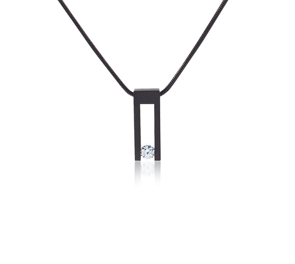 PT089B B.Tiff Hollow Bar Black Anodized Stainless Steel Pendant Necklace