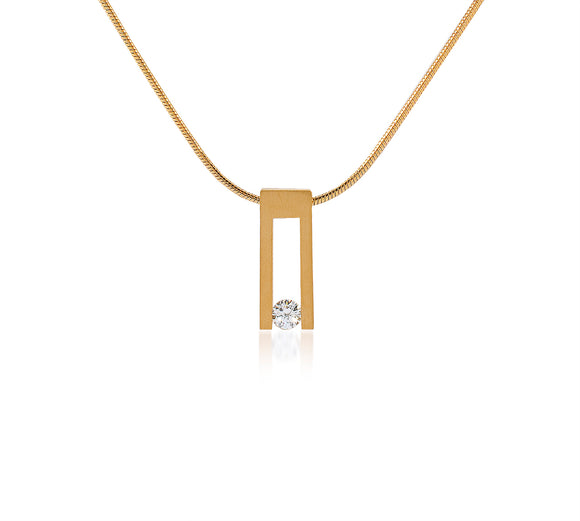 PT089G B.Tiff Hollow Bar Gold Plated Stainless Steel Pendant Necklace