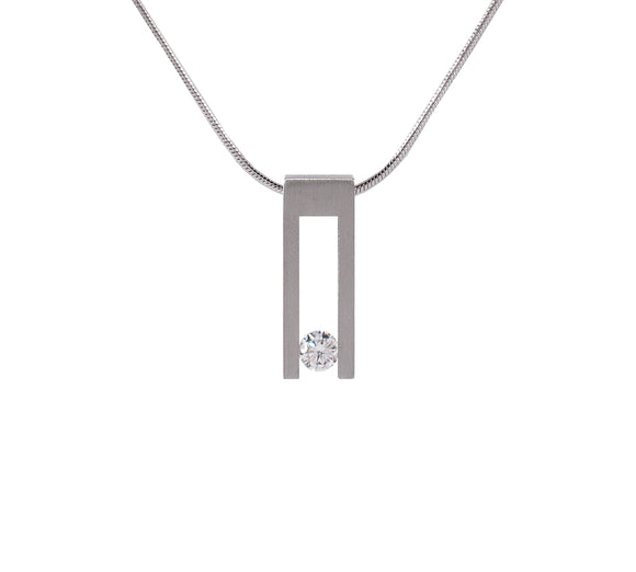 PT089W B.Tiff Hollow Bar Stainless Steel Pendant Necklace