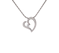 PT092W B.Tiff Stainless Steel Pave Heart Pendant Necklace