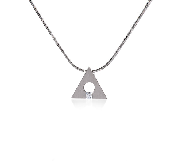 PT093W B.Tiff Stainless Steel Supera Triangle Pendant Necklace