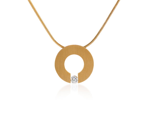 PT100G B.Tiff Malfinia Gold Plated Stainless Steel Pendant Necklace