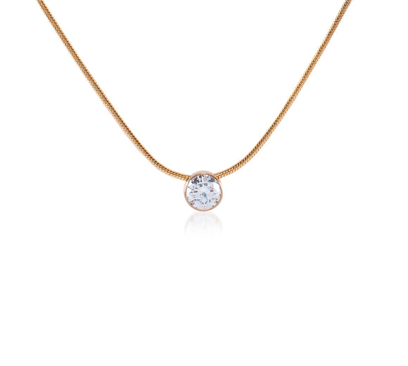 PT101G B.Tiff 1 ct Gold Plated Stainless Steel Solitaire Pendant Necklace