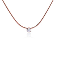PT101RG B.Tiff 1 ct Rose Gold Plated Stainless Steel Solitaire Pendant Necklace
