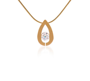 PT106G  B.Tiff Drop Gold Plated Stainless Steel Pendant Necklace