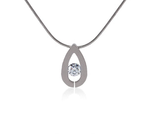 PT106W  B.Tiff Drop Stainless Steel Pendant Necklace