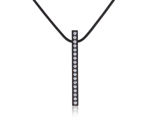 PT107B  B.Tiff 18-Stone Black Anodized Stainless Steel Bar Pendant Necklace