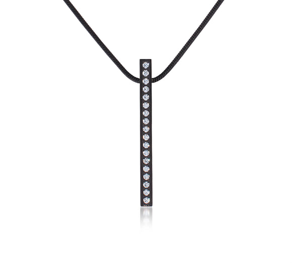 PT107B  B.Tiff 19-Stone Black Anodized Stainless Steel Bar Pendant Necklace