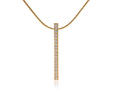 PT107W B.Tiff 19-Stone Stainless Steel Bar Pendant Necklace