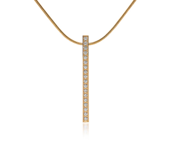 PT107G  B.Tiff 19-Stone Gold Plated Stainless Steel Bar Pendant Necklace