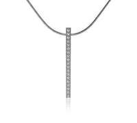 PT107RG  B.Tiff 18-Stone Rose Gold Plated Stainless Steel Bar Pendant Necklace