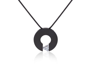 PT113B B.Tiff Triangle Cut Malfinia Black Anodized Stainless Steel Pendant Necklace