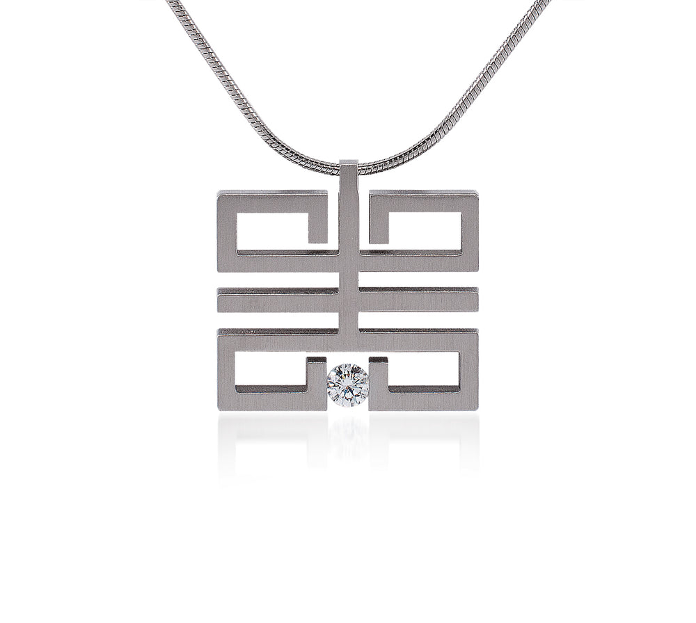 PT114W B.Tiff Feliĉo Stainless Steel Pendant Necklace
