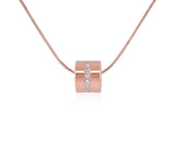 PT118RG B.Tiff Barrel Rose Gold Plated Stainless Steel Pendant Necklace