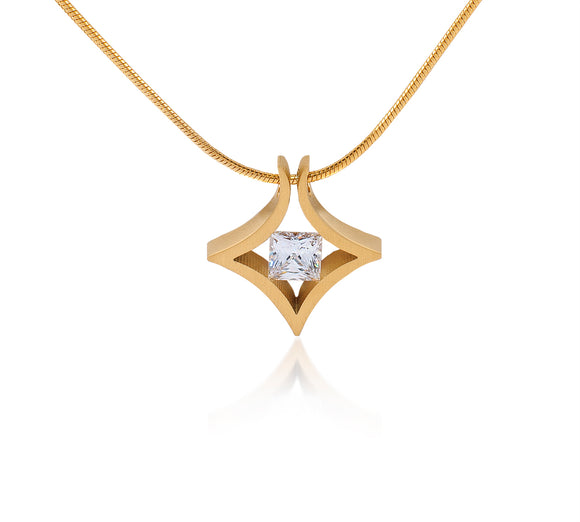 PT124G B.Tiff Natal 1 ct Princess Cut Gold Plated Stainless Steel Pendant Necklace