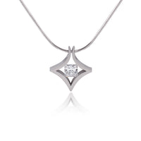 PT124W B.Tiff Natal 1 ct Princess Cut Stainless Steel Pendant Necklace