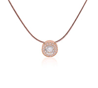 PT125RG B.Tiff Aŭreolo 1ct Rose Gold Plated Stainless Steel Halo Pendant Necklace