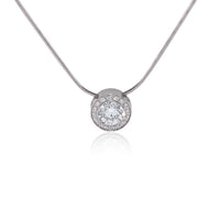 PT125G B.Tiff Aŭreolo 1ct Gold Plated Stainless Steel Halo Pendant Necklace