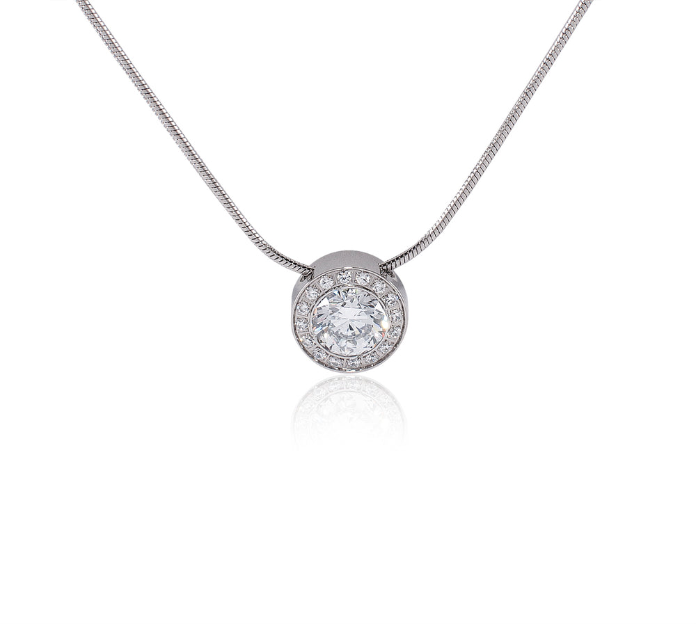 PT125W B.Tiff Aŭreolo 1ct Stainless Steel Halo Pendant Necklace