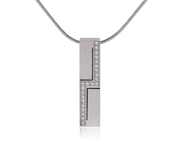 PT129W B.Tiff Cross Body Stainless Steel Pendant Necklace