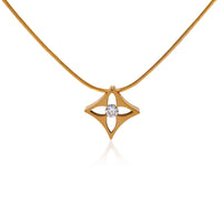 PT138G B.Tiff Floro Gold Plated Stainless Steel Pendant Necklace