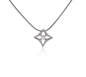 PT138W B.Tiff Floro Stainless Steel Pendant Necklace