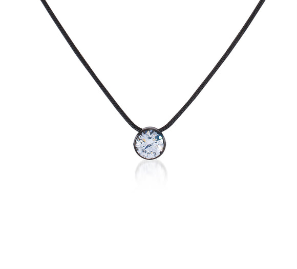 PT201B B.Tiff 2 ct Solitaire Black Anodized Stainless Steel Pendant Necklace