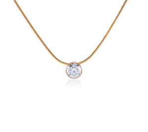 PT201RG B.Tiff 2 ct Solitaire Rose Gold Plated Stainless Steel Pendant Necklace