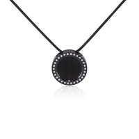 PT207B B.Tiff Pave 30-Stone Halo Black Anodized Stainless Steel Pendant Necklace