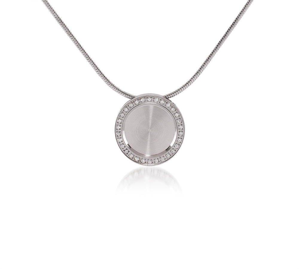 PT207W B.Tiff Pave 30-Stone Halo Stainless Steel Pendant Necklace