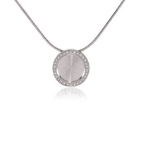 PT207RG B.Tiff Pave 30-Stone Halo Rose Gold Plated Stainless Steel Pendant Necklace