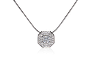 PT228W B.Tiff Hexagon Stainless Steel Pendant Necklace