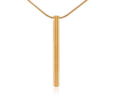 PT300G B.Tiff Plain Bar Gold Plated Stainless Steel Pendant Necklace