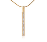 PT318RG B.Tiff Pave Rose Gold Plated Stainless Steel Bar Pendant