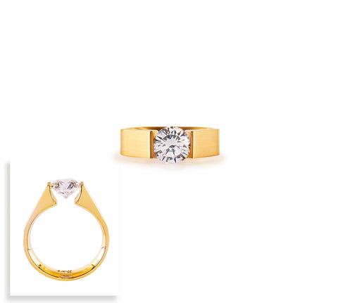RG093G B.Tiff Round Solitaire Gold Plated Stainless Steel Ring