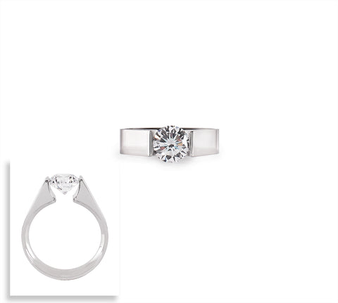 RG093W B.Tiff Round Solitaire Stainless Steel Ring