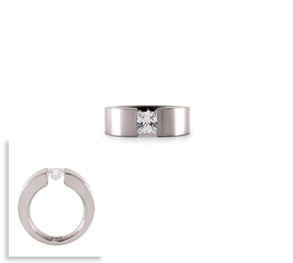 RG094W  B.Tiff 1 ct Double Sided Princess Cut Stainless Steel Solitaire Ring
